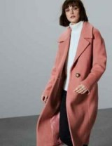 M&S AUTOGRAPH Textured Single Breasted Coat in Dusky Rose – tailored relaxed fit coats – pink outerwear