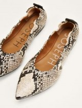 JOSEPH The Lovecat Point Ballerinas in Neutral | snake print leather flats