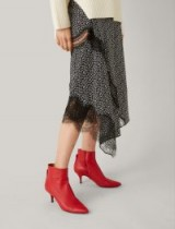 JOSEPH The Sioux Pointed Boots in Red / kitten heel ankle boots