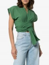 Three Graces Serena Green Cropped Sleeve Wrap Top