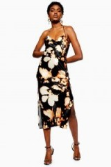 TOPSHOP Tie Dye Belted Slip Dress in Black / printed cami dresses