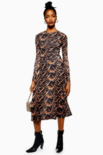 TOPSHOP Tie Dye Mesh Midi Dress / printed dresses