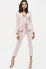 Lavish Alice tie front blazer style tailored jumpsuit in dusty pink | plunging jacket jumpsuits