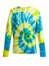 THE ELDER STATESMAN Tie-dye crew-neck cashmere sweater in blue & yellow / psychedelic print jumper