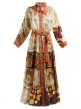RIANNA + NINA Tiered silk satin-twill dress in camel ~ mixed vintage prints