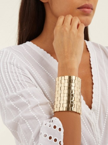 CHLOÉ Tilly square-link cuff ~ gold-tone statement cuffs