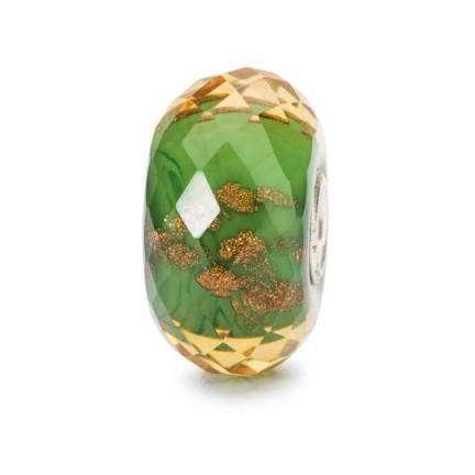 TROLLBEADS Green Twinkle Bead | coloured glass jewellery beads