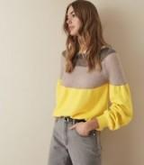 REISS TULUM COLOUR BLOCKED JUMPER YELLOW ~ statement knitwear