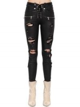 UNRAVEL DESTROYED LACE-UP LEATHER PANTS BLACK – classic ripped skinnies