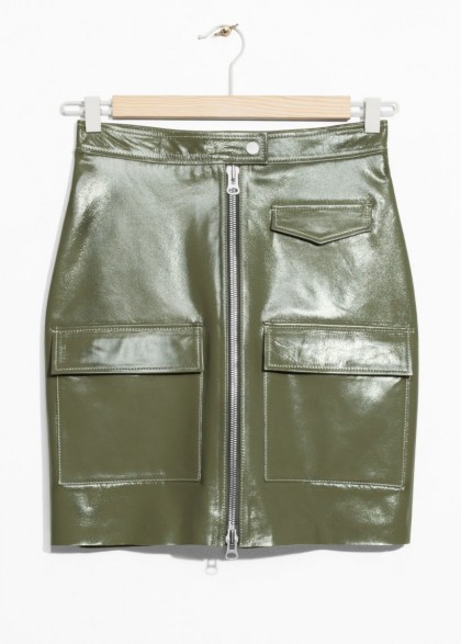 & other stories Utilitarian Patent Leather Skirt in Khaki-Green | luxe utility skirts