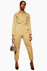 TOPSHOP Utility Boiler Suit Stone ~ light-brown toned fashion