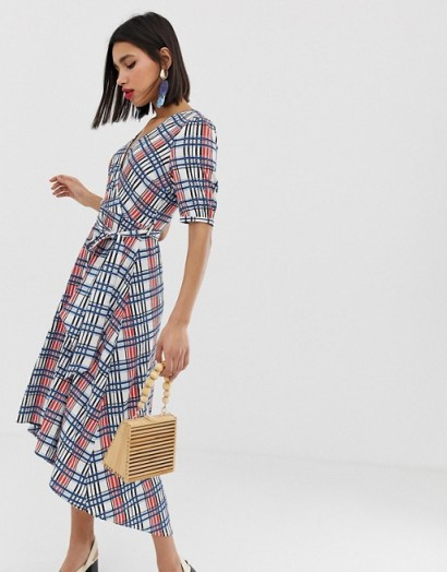 Vero Moda textured check wrap dress with volume sleeve / dipped hem dressed / crossover front