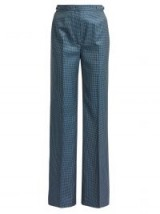 GABRIELA HEARST Vesta blue high-rise checked wool-blend trousers