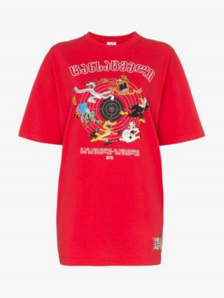 Vetements Red Cartoon Graphic Print Oversized Cotton T-Shirt | printed tee