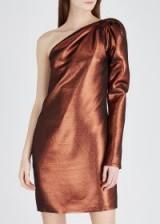 VICTORIA, VICTORIA BECKHAM Copper one-shoulder lamé mini dress ~ metallic partywear
