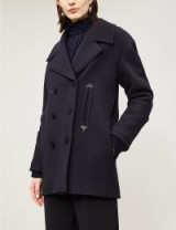 VICTORIA VICTORIA BECKHAM Leather-trimmed oversized wool-blend coat midnight – smart double breasted coats