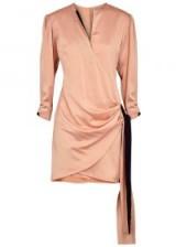 VICTORIA, VICTORIA BECKHAM Light pink satin mini dress – luxe side draped dress
