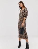 Whistles jungle cat knitted midi skirt   animal prints