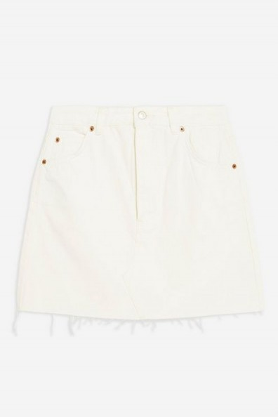 Topshop White Denim Mini Skirt | frayed hemlines