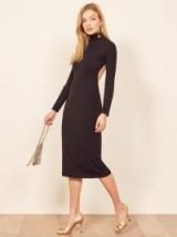 Reformation Winstead Dress in Black | open back rib knit dresses