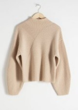 & other stories Wool Blend Mock Neck Sweater in Beige | drop shoulder jumper