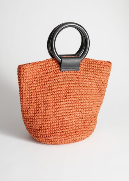 & other stories Woven Straw Tote Bag in Brown