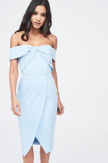 LAVISH ALICE woven twist bardot midi dress in cornflower blue – wrap style going out dresses