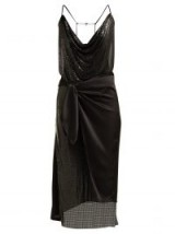 PACO RABANNE Wrap chainmail and black satin midi dress ~ part metallic dresses