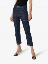 3×1 High-Waisted Contrast Stitch Cropped Trousers ~ chic denim
