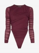 Y / Project Ruched Detail Body in Burgundy ~ dark-red bodysuits
