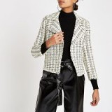 RIVER ISLAND Yellow check boucle crop jacket – frayed edge jackets
