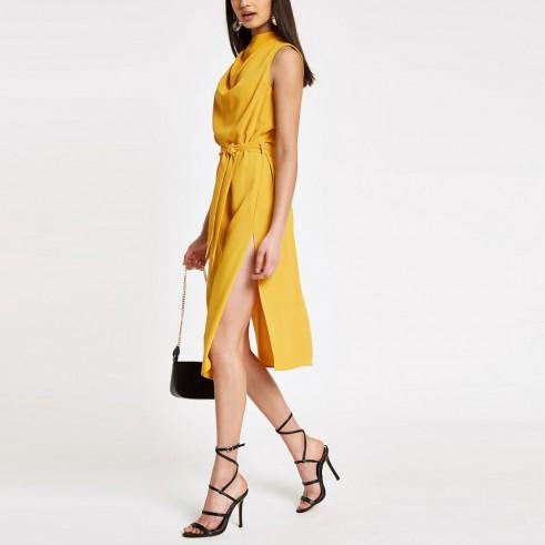 RIVER ISLAND Yellow cowl neck tie waist sleeveless dress – evening glamour