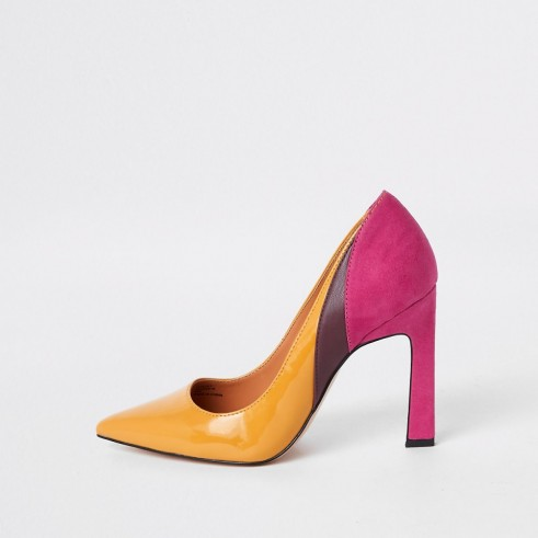 RIVER ISLAND Yellow spliced heel court shoes ~ colour block courts