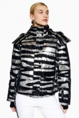 Topshop SNO Zebra Foil Print Jacket in Silver | animal print ski jackets | winter sports fashion