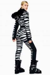 Topshop SNO Zebra Snow Suit in Black | glamour on the slopes | animal print ski suits