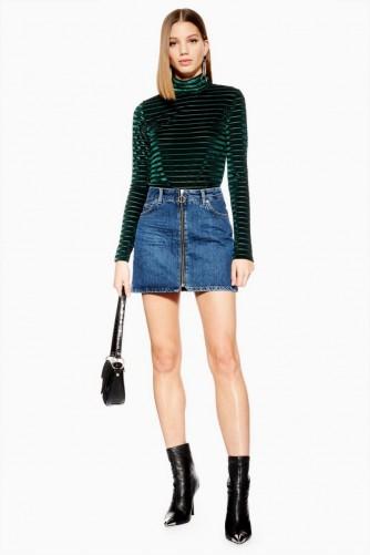Topshop Zip Denim Skirt in Mid Stone | casual mini