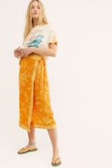 FREE PEOPLE Yasmin Border Midi Skirt in Orange Nectar ~ sarong wrap skirts