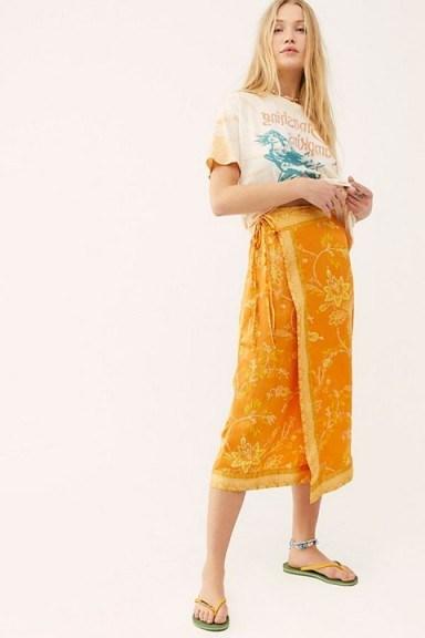 FREE PEOPLE Yasmin Border Midi Skirt in Orange Nectar ~ sarong wrap skirts - flipped