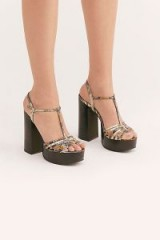 Jeffrey Campbell Breakaway Platform in Taupe Snake ~ strappy T-bar platforms