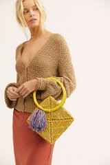 Nannacay Diamond Straw Clutch in Yellow