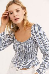 Cleobella Seville Top. MULTI STRIPES. SMOCKED BLOUSE