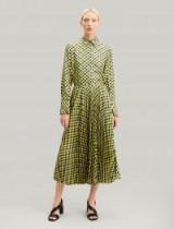 JOSEPH Abbot Diamond Weave Print Skirt in Yellow / geometric checks
