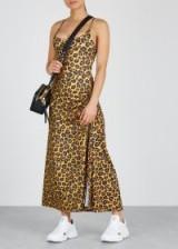ADAM SELMAN SPORT Leopard-print stretch-jersey dress ~ tonal-brown animal prints