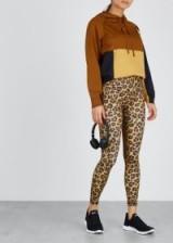 Leopard-print stretch-jersey leggings ~ tonal-brown sports pants