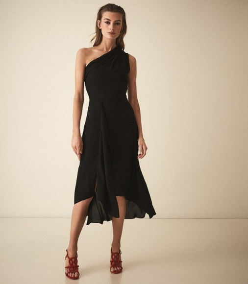 REISS ADELIA ASYMMETRIC MIDI DRESS BLACK ~ feminine one shoulder design