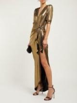 MARIA LUCIA HOHAN Adelyn metallic-gold wrap maxi dress ~ Hollywood style glamour