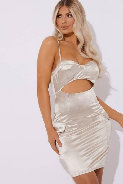 IN THE STYLE ADESINA SATIN LIGHT GOLD CUT OUT DETAIL MIDI DRESS ~ glamorous strappy bodycon