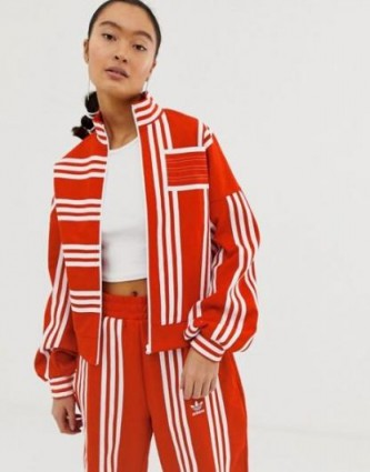 adidas Originals x Ji Won Choi mixed stripe track jacket in red – sporty jackets