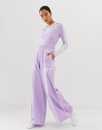 adidas Originals x Ji Won Choi mixed stripe wide leg track pants in purple glow – casual mauve pants