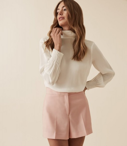 REISS ADINA HIGH NECK BLOUSE WHITE ~ chic pleated cuffs
